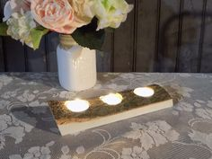 Rustic Log Candle Tray - Log Centerpiece - Log Tealight Holder - Rusitc Home Decor - Primitive Decor - Wood Candle Holder - Reclaimed Wood