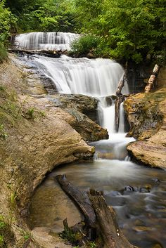 The UP Sable Falls, Pictured Rocks National Lakeshore Grand Marais, Michigan Michigan Vacations, Michigan Travel, Beautiful Waterfalls, Beautiful Landscapes, Michigan Waterfalls, Pictured Rocks National Lakeshore, Picture Rocks, Natural Wonders, Landscape Photography