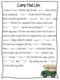 """, Mad libs- camping , This goes along with my """" a camping we will go"""" activity pack located in my store. :) The kids LOVE writing and sharing these.Check out my camping act. Camping Bedarf, Girl Scout Camping, Camping Games, Camping Theme, Camping With Kids, Camping Store, Camping Ideas, Camping Guide, Camping Equipment"""