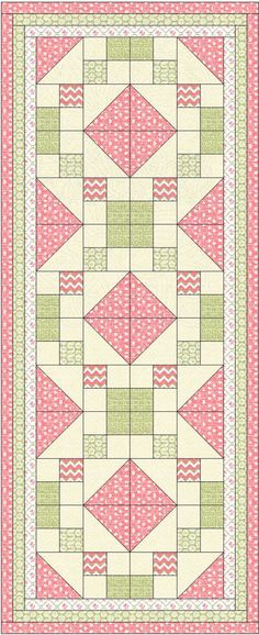 coral pink and green tablerunner