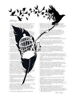 raven feather silhouette | ... Edgar Alan Poe Poem and Raven Silhouette: Break Free by SFDesignstudio