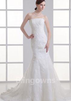 Zipper Sweep White Mermaid Tulle Strapless Appliques Sleeveless Wedding Dresses