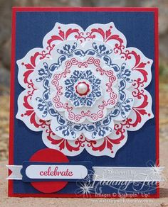 handmade card by Stamping with Tammy, Daydream Medallions ... red, white and blue ... 4th of July theme ... great card!! ... Stampin' Up!