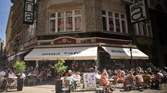 Anna Cafe on Váci Street in Budapest.  Great spot for coffee, breakfast and people watching in Budapest.  Also a great area for shopping.