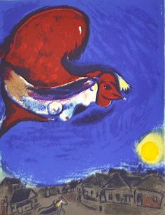 Marc Chagall stunning original cover lithograph 'The Village By Night published by Maeght Gallery in Paris 1950, Derriere Le Miroir, DLM 250 #158-159. Signed in the stone bottom right corner. This is one of the first two color lithographs that Chagall drew directly on the stone.   eBay!