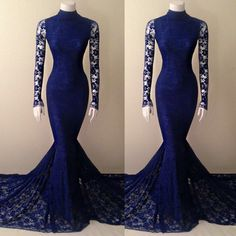 Navy Blue Lace Mermaid High Neck Prom Dress With Long Sleeves,Evening Dresses