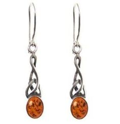 Amber Sterling Silver Small Celtic Oval Earrings: Amazon.co.uk: Jewellery