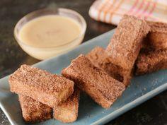 Churros French Toast with White Chocolate-Orange Ganache recipe from Bobby Flay via Food Network