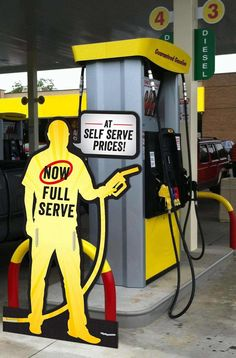 Clever Design #18: Full serve bollard sign made right by Wheels Convenience Stores. What a clever way to promote at the pump.  ARMAC was happy to help with this project!