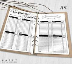 Printable Expenses Tracker Inserts A5 Expenses Tracker