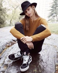 That's a statement: hipster Tomboy style look, which includes an awesome fedora hat, mustard sweater and ripped skinnies worn with sneakers. Add a touch of fun to your shows by grabbing our shoelaces at www.ShoeStringKing.com! #SSKfemale #womensfashion #womensstyle #shoe #shoes #shoeporn #shoegasm #instashoes #instakicks #instastyle #instafashion #instapic #instagood #ootd #outfitoftheday #lookoftheday #shoelover #shoescommunity #footwear #shoelaces #shoestring #followme #follow4follow