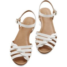 Bass Americana Come Out and Plait Sandal (235 BRL) ❤ liked on Polyvore featuring shoes, sandals, flats, white, slingback, flats sandals, leather sandals, buckle strap sandals, white strap sandals and white sandals