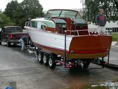 Custom Inboard Boat Trailer 1957 Chris Craft 30 foot Constellation with twin engines made by MBBW Classic Trail www.mbbw.com