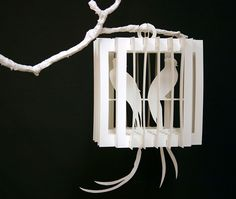 """Collapsible paper birdcages, built from sliceforms. Cut and assembled by hand.  Inspired by the paper creations of Masahiro Chatani    2011  Various sizes, up to 12""""  Unique set"""