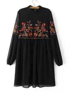 okaywowcool: embroidered shirt dress vintage kitsch hipster street fashion street style fachin dess sheer floral z Kurta Designs, Blouse Designs, Embroidery Fashion, Floral Embroidery, Embroidery Dress, Modele Hijab, Stylish Dresses For Girls, Muslim Fashion, Just In Case