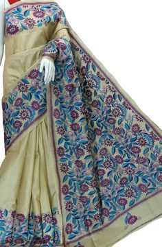Multicolor Pure Silk Embroidered Kantha Saree Product Code: LWKSB391