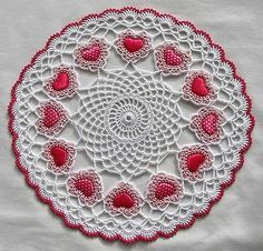 Crochet Heart Doily Rose Pink and White