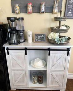 The best ways to build your own Coffee Cafe at Work, these tips will blow your mind Coffee Bars In Kitchen, Kitchen Buffet, Coffee Bar Home, Dining Room Buffet, Buffet Cabinet, Coffe Bar, Coffee Tin, Coffee Canister, Coffee Cafe