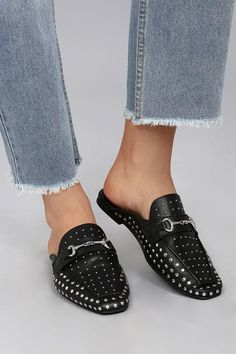 5f15601cde7c5 For a chic look just slip on the Steven by Steve Madden Razzi Black Leather  Studded Loafer Slides! These trendy shoes feature a silver studded vamp.