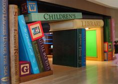 Entrance to the children's section at the Cerritos Millenium Library in California. I would be such a good children's librarian. Library Themes, Kids Library, Dream Library, Library Displays, Library Design, Library Books, Library Ideas, Library Corner, Library Decorations