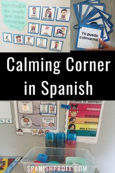 Calm down corner in Spanish. Variety of ideas, posters, printable and visuals for kids to use for self-regulation of feelings and behavior management in your Spanish immersion, bilingual, Immersion kindergarten, preschool or primary grade. Area de calmars