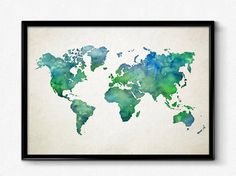 Watercolor world map Blue and Green large map poster Watercolor print map of world Office decor School wall art