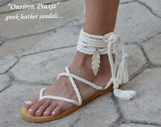 Greek Leather Sandals, Wedding accesories and more by OneironPraxis Greek Sandals, Bare Foot Sandals, Lace Up Sandals, Beach Sandals, Gladiator Sandals, Leather Sandals, Fashion Shoot, Fashion Models, Women's Fashion