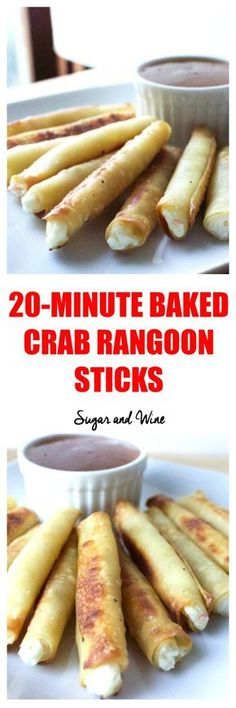 Get the recipe Baked Crab Rangoon Sticks /recipes_to_go/ – Gesundes Abendessen, Vegetarische Rezepte, Vegane Desserts, Seafood Appetizers, Appetizers For Party, Seafood Recipes, Appetizer Recipes, Cooking Recipes, Quick Recipes, Freezable Appetizers, Prociutto Appetizers, Cheap Appetizers