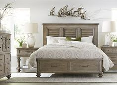 $2447 Forest Lane Bedroom at Havertys (king storage bed, two nightstands, dresser)