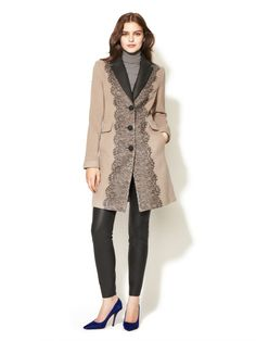 Embroidered Lace Front Wool Coat by Badgley Mischka Outerwear on Gilt.com