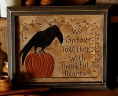 Free Printable Primitive Stitchery Patterns | Pattern Primitive Fall Crow Pumpkin Sampler Stitchery | eBay