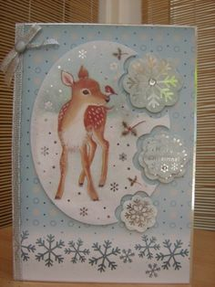 Handmade Christmas Card - Cute Snowflake Deer   Kibbs Cards MISI Handmade Shop
