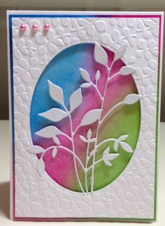 dry embossing w/leaves cut out in the oval opening & rainbow of inks behind Making Greeting Cards, Greeting Cards Handmade, Memory Box Cards, Embossed Cards, Cool Cards, 3d Cards, Pretty Cards, Card Sketches, Copics