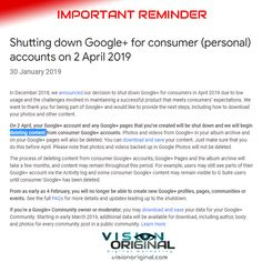 IMPORTANT REMINDER: If you have any information or photos in Google+, remember to back them up urgently or everything will be deleted. #important #GooglePlus