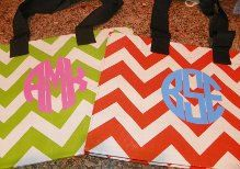 Monogrammed LIME ORANGE or KHAKI Chevron