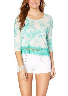 Crochet Trimmed Tie Dye Dolman  | Blouses & Shirts | rue21