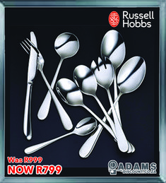 Perfect for that candle lit dinner, or any other special occasion, is the Russel Hobbs Nostalgia Finesse 34 piece cutlery set.#shoponline #adamsdiscount #russelhobbs www.adamsdiscount.co.za