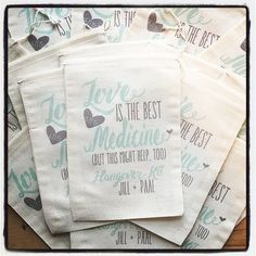 Such adorable recovery kit favor bags...perfect for any wedding! Your guests will def appreciate the love!! #love #loveisthebestmedicine #wedding #weddingfavor #weddingday #thankyou #hangover #hungover #party #recoverykit #bridetobe #bride #bridalparty #ilulilydesigns