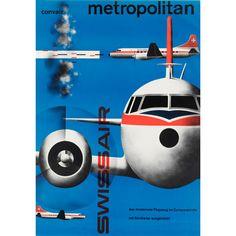 Kurt Wirth, artwork for Swissair, 1955-61