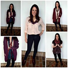 Love all these outfits a blush colored shirt and charcoal jeans can make!! To the left is pocketed soft wine colored cardigan with one of our new scarves and to the top right is brown pocketed hi/lo cardi and bottom right is a gorgeous fur vest(for those of you who have a fur vest already, you know how every single fall, without fail you whip that baby out! Fur vests are definitely money well spent!)