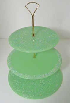 Three Tier Fused Glass Cake Stand by AngelGlass on Etsy, Tiered Dessert Stand, Tiered Cake Stands, Pedestal Cake Stand, Cake And Cupcake Stand, Cupcake Cookies, Fused Glass Plates, Glass Cakes, Party Accessories, Hostess Gifts