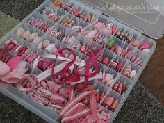 Wrap ribbon around embroidery floss cards - takes up less room (do when watching TV!)  This site has lots of good organizational tips for craft rooms!