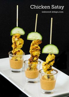 Chicken Satay served with peanut sauce {wine glass writer}