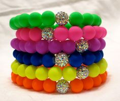 Neon Rubber Beaded Bracelets with Iridescent Crystal Bead 13