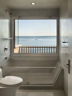This modern bathroom has a glass bathtub. Bathroom Tub Shower, Bathroom Renos, Bathroom Interior, Modern Bathroom, Bath Tub, Spa Shower, Small Bathroom Ideas, Tub Shower Combo, Minimalist Bathroom