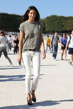 Geraldine Saglio front tucks the front pocket slouchy tee: very interesting color