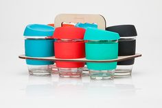 Brand design, packaging and ongoing creative direction for reusable glass coffee cup brand, Joco.Ethically minded, Joco are all about equal amounts of substance and style. They care for your coffee as much as Mother Earth, and believe that environmental… Box Packaging, Packaging Design, Branding Design, Glass Coffee Cups, Reusable Coffee Cup, Graphic Design, Creative, Mother Earth, Inspiration