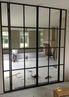 To separate laundry from family/craft room Glass Partition Wall, Glass Room Divider, Cafe Interior, Interior Styling, Interior And Exterior, Metal Windows, Windows And Doors, Gate Design, Door Design