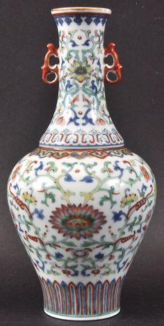 A Good Chinese Twin Handled Doucai Porcelain Vase Qianlong