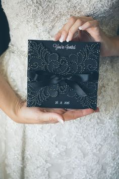 lavish black wedding invitations with decorative crystals